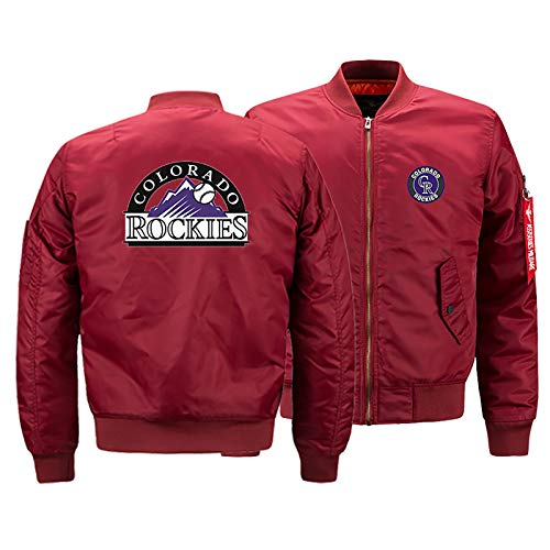 GMRZ MLB Herren Jacke, Mit Colorado Rockies Logo Major League Baseball Team Sweatshirts Fans Jerseys Sweatjacke Mit Warm Winter Outdoor Ski-Jacket,C,M