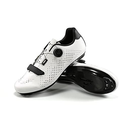 Santic Zapatillas Ciclismo Hombre Carretera Zapatillas Bicicleta Montaña MTB para Hombres Blanco EU 40