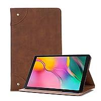 タブレットケース ギャラクシータブホルダー&カードスロット&財布では10.1(2019年)T510 / T515レトロブックスタイル横長フリップレザーケース用 (色 : 褐色)