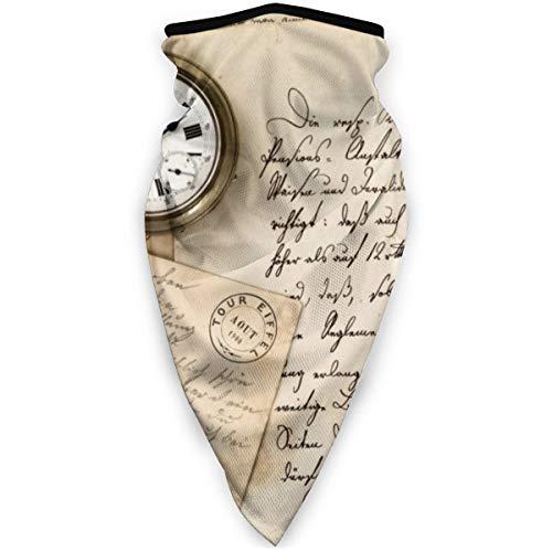 BJAMAJ Vintage Oude Papier Pen Horloge Schrijven Outdoor Gezicht Mond Masker Winddicht Sport Masker Ski Masker Shield Sjaal Bandana Mannen Vrouw