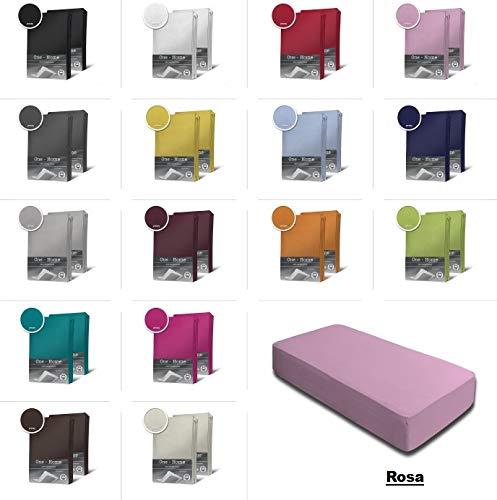 one-home 2er Set Jersey Spannbettlaken Spannbetttuch Baumwolle Topper Boxspringbett Laken, Farbe:Rosa, Maße:2er Pack 70 x 140 cm Kinderlaken