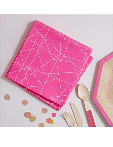 Ginger Ray Neon Pink Geometric Paper Party Napkins X 20