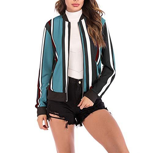 Morbuy Kurzer Damen Mantel, Damen Frühling Mode Floral Baseball Mantel Tops Bomberjacke Reißverschluss Kurzjacke (S, Himmelblaue Streifen)
