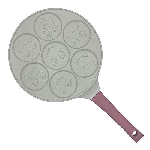 Erreke - Sartén para Tortitas, Molde Tortitas, Todo Tipo de Cocinas Incluso Inducción, Antiadherente, Diseño Caritas, Mango Tacto Suave, Infantil y Divertido, Tamaño 26 cm, Color Rosa