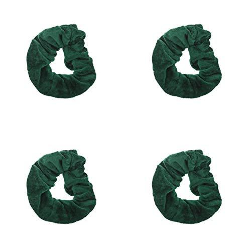 Flaschengrünes Haaraccessoire für die Schule, Haarband, Haargummis, etc. Gr. Einheitsgröße, Set mit 4 Haargummis aus Samt.