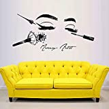 Salón de belleza herramientas cosméticas maquillaje pegatinas de pared cara de niña tatuajes de pared modelo ojos de niña labios decoración de la pared pegatinas de pared A9 92x42cm