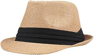 قبعة فيدورا بشريط متباين من GoolRC عصرية للرجال والنساء من القش بشريط مجعد حافة يوني بنما جاز ترايبلي قبعة