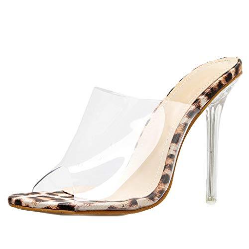 Zapatos Elegantes de Mujer con tacón Leopardo Cristal 10CM Zapatos Mujer Sandalias de cuña con tacón Fino - Sexy Plataforma de Punta Abierta Transparente Sandalias Cómodo/Compras en el Verano