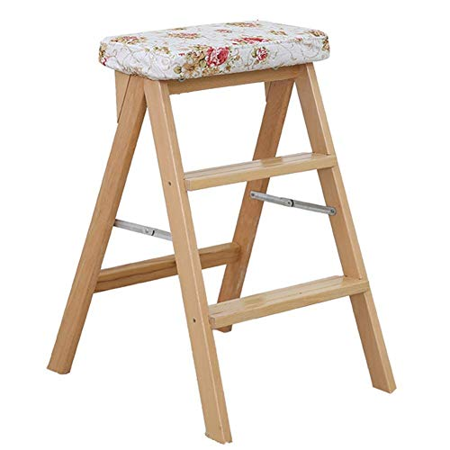 QTQZDD Ladder Stool Multifunction Foldable Beech Frame Mute Non-Slip Washable, 3 Steps, 7 Colors Dual-use (Color : E, Size : 42x48x63cm)