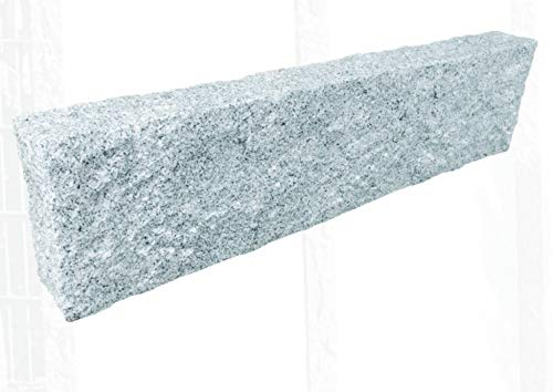 Splittprofi Palisade Kantenstein Premium Granit hellgrau 10x25x40cm gestockt