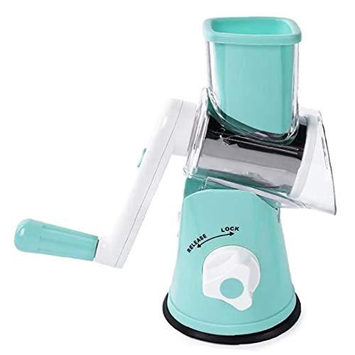 Berrywho Queso rotatorio del rallador de Cocina máquina de Cortar mandolina Azul con 3 Intercambiables de Acero Inoxidable Cuchillas para Frutas Hortalizas