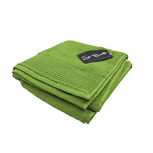 St. Barth Ripsborde Duschtuch, 100prozent Baumwolle, 380 g/m², 70 x 140 cm, Micro-Cotton, grün (4 Stück)