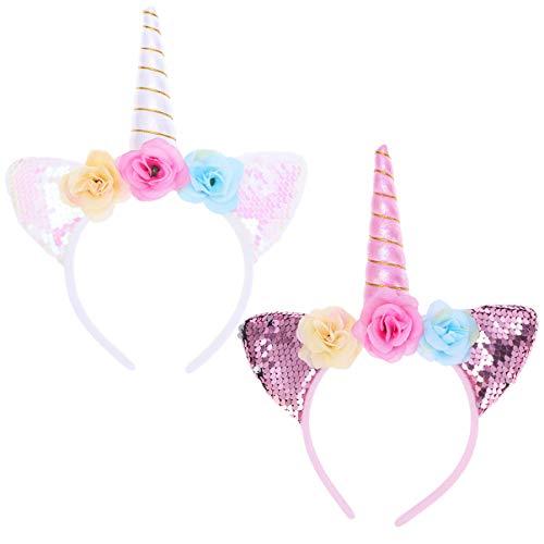 Minkissy Diadema de unicornio, 2 unidades, con purpurina, orejas de gato, cuernos de luz, diadema, decoración de flores, accesorio para fiestas de cosplay
