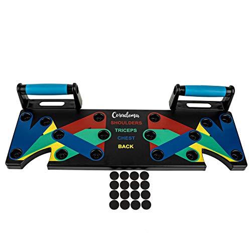 Coradoma Push Up Rack Board 9 in 1 Liegestützbrett mit Handgriffen Farbcodiert für Home Workout Fitness Trainer rutschfeste Liegestützgriffe