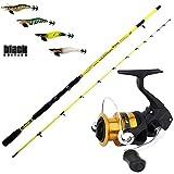 agc Kit Eging Canna Globe Fishing Yellow 210 + Mulinello Shimano FX 3000 + 4 Totanare FF Black