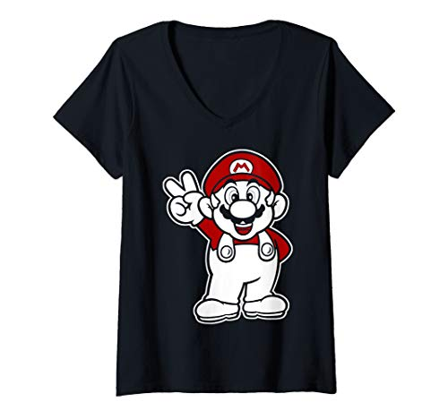 Womens Super Mario Red And White Peace Sign V-Neck T-Shirt