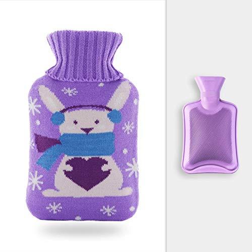 Wärmflasche Mit Bezug, Abnehmbarer Strickbezug, Lila, Weißes Kaninchen, 1L