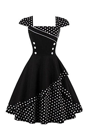 Damen 50er Jahre Vintage Rockabilly Kleid Pin up Cocktailkleid Polka Dots Partykleid Knielang- Gr. XL (42), Schwarz