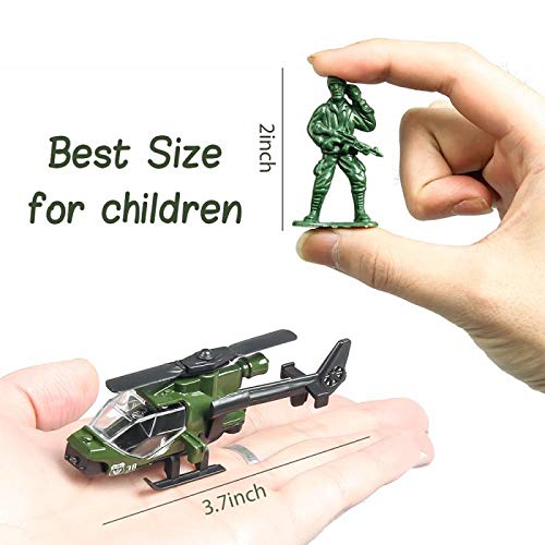 18 Pack Die-cast Military Vehicles Sets,6 Pack Assorted Alloy Metal Army Models Car Toys and 12 Pack Soldier Army Men, Mini Army Toy Tank,Panzer,Anti-Air Vehicle,Helicopter Playset for Kids Boys