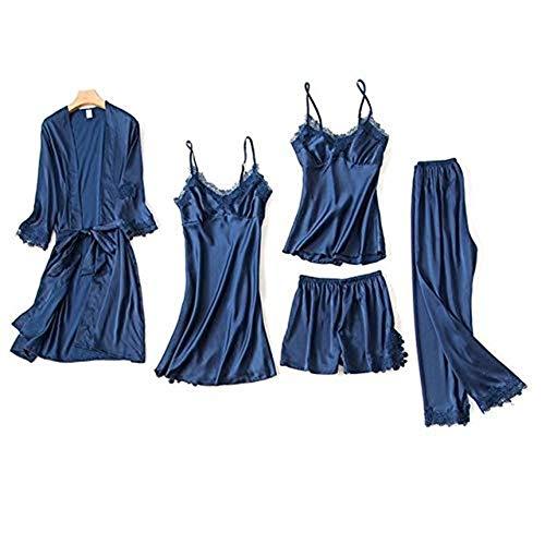 AFUPO 5PCS Pyjamas Set Nachthemd Home Wear Robe Sexy Frauen Lace Sleeve Nachtwäsche, Navy Blue, XL