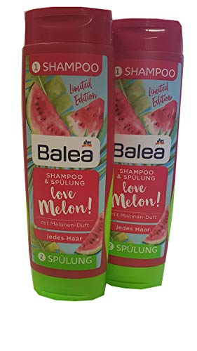 Balea Shampoo & Spülung love Melon! Melonenduft für jedes Haar 2 x 300 ml perfekt für Reise, Ausflug ins Schwimmbad