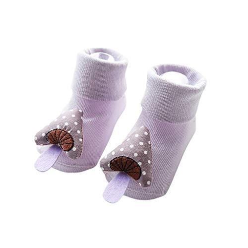 Fenverk Kinder Unisex Hüttenschuhe Nilpferd Knöchelsocken Kinder-Hüttenschuhe aus Baumwolle, Hausschuhe für Mädchen und Jungen mit rutschhemmender Sohle, 0-18 Monate