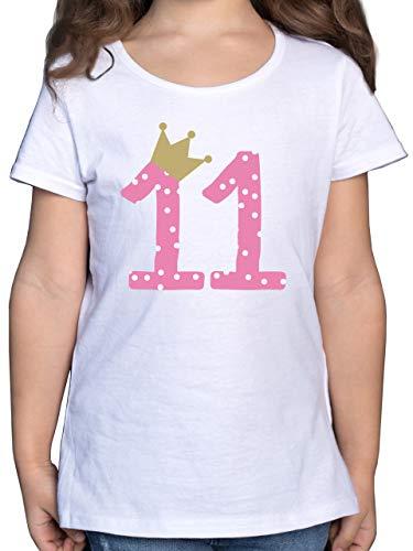 Geburtstag Kind - 11. Geburtstag Krone Mädchen Elfter - 140 (9/11 Jahre) - Weiß - mädchen 11 Geburtstag - F131K - Mädchen Kinder T-Shirt