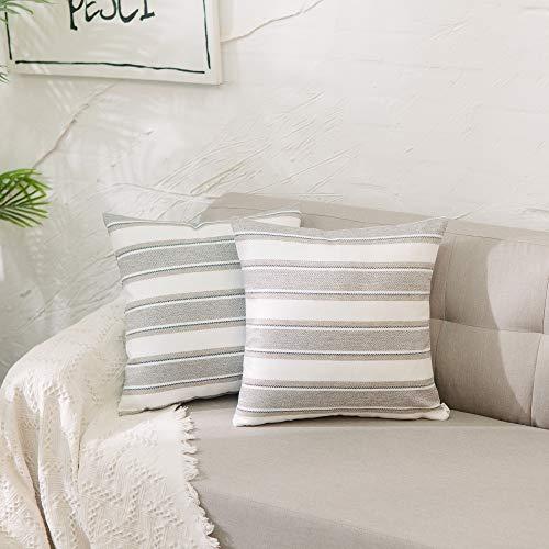 Natus Weaver 2 Stück gestreifte Kissenbezüge aus weichem Leinen, quadratisch, dekorativer Kissenbezug mit verstecktem Reißverschluss für Sofa 40 x 40 cm, 40,6 x 40,6 cm