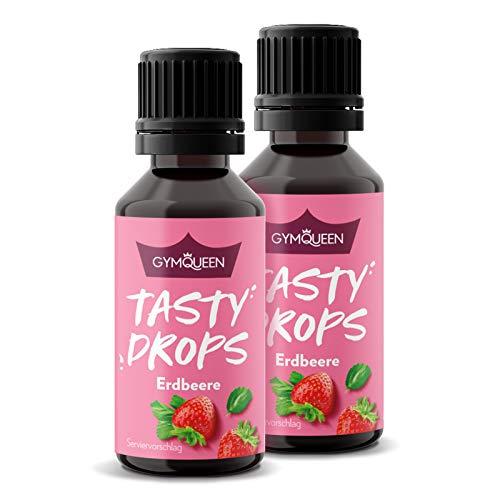 GymQueen Tasty Drops 2x30ml / Kalorienfreie, Zuckerfreie und Fettfreie Flavour Drops / Aroma Tropfen zum Süßen von Lebensmitteln / Geschmackstropfen ohne Künstliche Farbstoffe / Erdbeere
