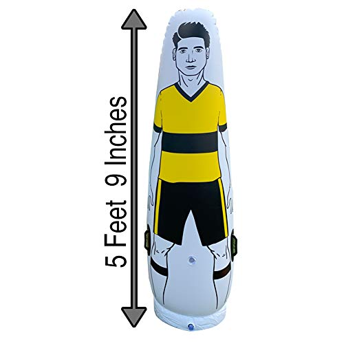 Yellow Soccer Inflatable Dummy SID | Goalkeeper Defender Training | Football Practice Tumbler Mannequin Shield | Dummies for Free Kicks, Dribbling Wall Passing Drills