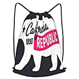AndrewTop Bolsa Cuerdas con cordón impermeable Unisex,Cartel de la vendimia del oso de la República de California,LigeroCasual ,Deporte Gimnasio Mochilas