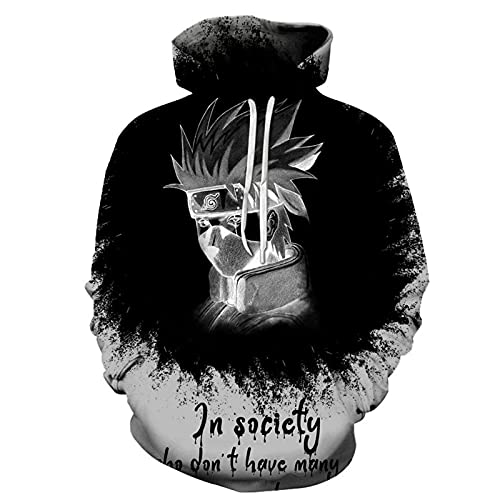 2021 Hombres y Mujeres con Capucha con Capucha Pullover- Naruto Cosplay Hatake Kakashi 3D Pullover Sweater 2021 New Unisex Lightweight Kangaroo Pocket Suéter -Anime Fans Amor (Color : 3u, Size : L)