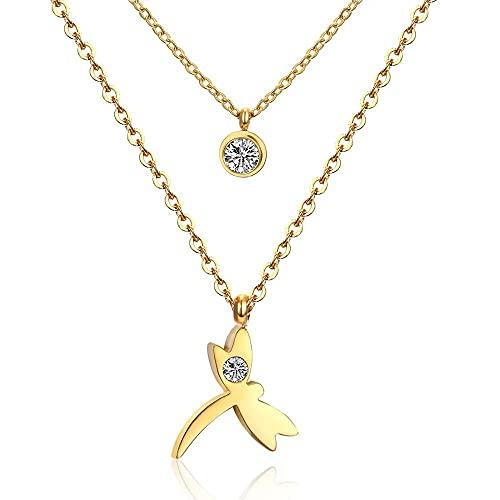 Colgante de libélula de cristal, collar de oro de doble cadena, gargantilla, collares largos para mujer, collares dejoyería