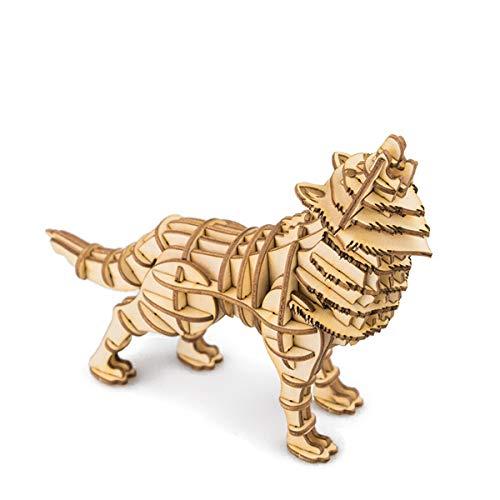HXZB 3D Puzzle Moderno estéreo de Madera Puzzle Animal Salvaje Lobo