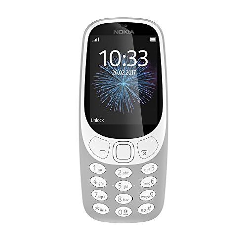 Nokia 3310 2G Mobiltelefon (2,4 Zoll Farbdisplay, 2MP Kamera, Bluetooth, Radio, MP3 Player, Dual Sim) retro grey