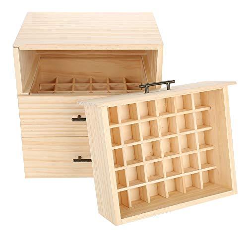 Etherische olie-box, hoogwaardige opbergdoos met drie verdiepingen, 90 gaten, houten doos voor verjaardagen en Kerstmis