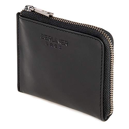 Berliner Bags Premium Münzbörse Mark, Mini Geldbeutel aus Leder, Portemonnaie für Damen und Herren - Schwarz