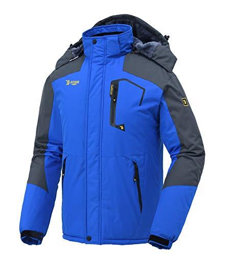donhobo Softshelljacken Herren Gefüttert Funktionsjacke Wasserdicht Atmungsaktiv Wandern Mantel Outdoor Jacke Winter Skijacke Blau L