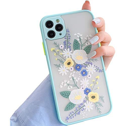 Kompatibel mit iPhone 12 Pro Max Hülle,Blätter Blumen Muster Handyhülle für Mädchen Frauen Transparent Matte PC Rückseite Weich Silikon Bumper Schutzhülle Case für iPhone 12 Pro Max