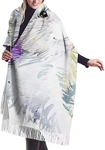 Bufanda de invierno con diseño de conejo blanco y amarillo con alas moradas, imitación de cachemira, bufanda de pashmina, manta, bufanda, elegante envoltorio para mujer