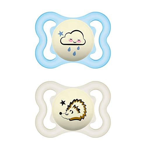 MAM Supreme Night - Set di 2 ciucci luminosi per bambini per uno sviluppo sano di denti e mascella, previene le irritazioni della pelle, 0-6 mesi, nuvola/riccio.– Istruzioni in lingua straniera