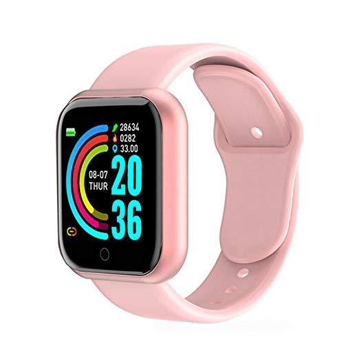 XXY Smart Watch Hombres Impermeable Deporte Fitness Tracker Pulsera Inteligente Presión Arterial Monitor De Frecuencia Cardíaca Y68 SmartWatch (Color : Pink)