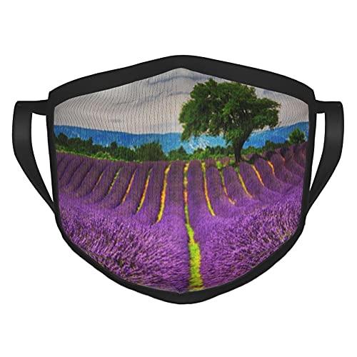 Reebos Lavender Field Scenic, France Cloth Face Ma-sk - Cubierta facial transpirable y ajustable para hombres y mujeres al aire libre, ciclismo, camping, viajes