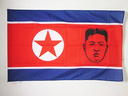 AZ FLAG Bandera de Corea del Norte con Kim Jong-UN 150x90cm para Palo - Bandera NORCOREANA 90 x 150 cm