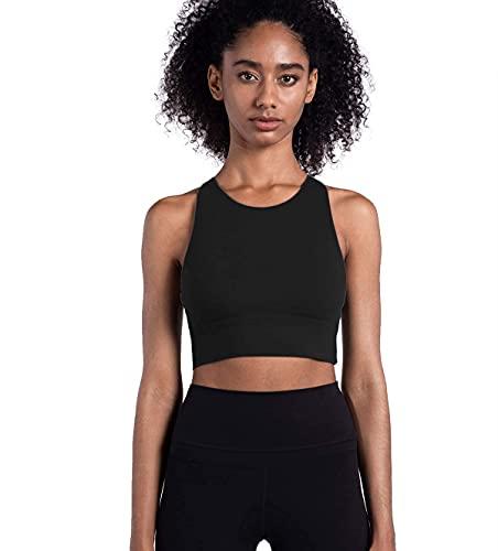 Lemedy Women Strappy Sports Bras Padded Medium Support Yoga Workout Tank Top (M, Black)