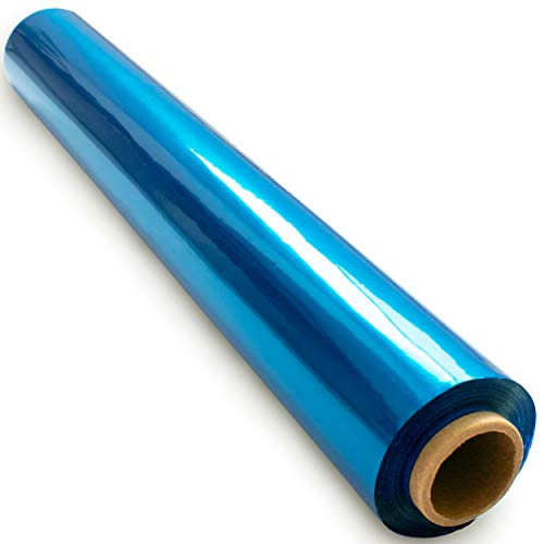 200 ft Blue Cellophane Wrap Roll (16 in x 200 ft) - Colored Cellophane Roll - Colored Cellophane Wrap - Blue Transparent Paper - Blue Clear Wrap - Cellophane Roll Blue- Blue Roll - Cellophane Paper