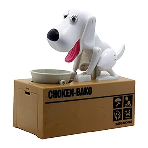 CHENGLIN Little Dog Piggy Bank Die süßeste Hundemünzbank der Welt Magic Robotic Coin Munching Toy Money Box Geld sparen Coin Bank (Alles weiß)