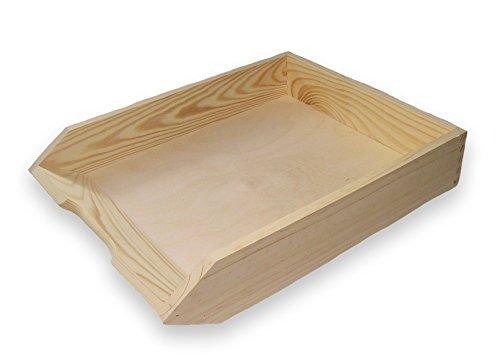 MidaCreativ Ablagekorb, Briefablage, Briefkorb aus Holz, Kiefer unbehandelt, stapelbar