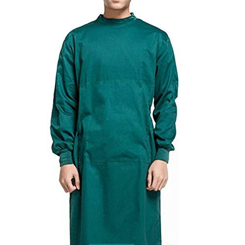 KESYOO Katoenen Chirurgische Jurk Wasbare Medische Jurk Arts Verpleegster Jurk Ziekenhuis Werkkleding Uniform Voor Artsen Verpleegster Medische Benodigdheden (Donkergroen L)
