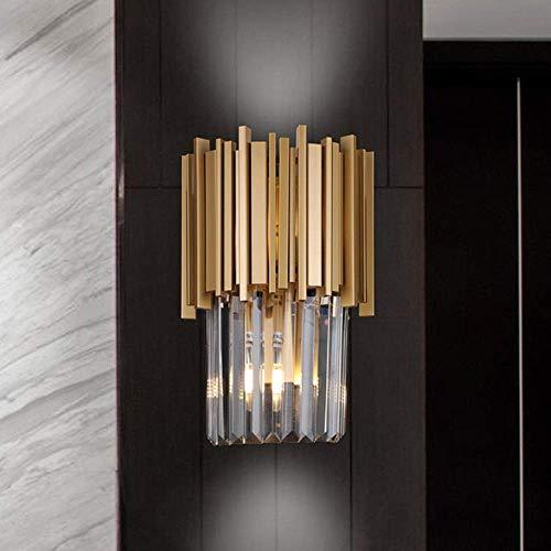 CHOUCHOU Apliques Pared Modern Luxury Vidrio cristalino de la lámpara de Pared de Metal de visitantes nórdicos Dormitorio lámpara de cabecera Simple Pasillo Pasillo Escaleras Light Bracket Oro